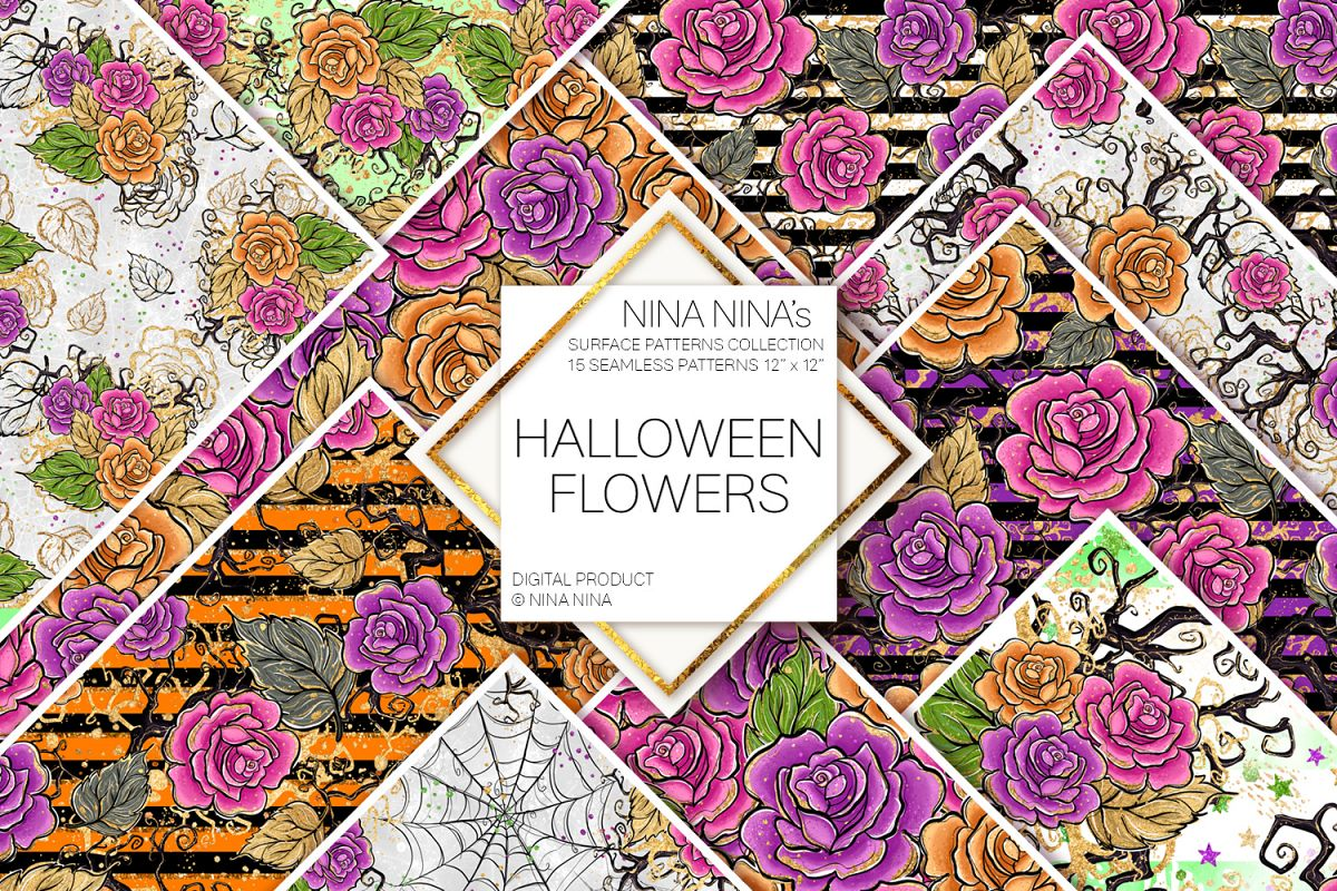 Halloween Flowers Seamless Patterns, Roses Digital Papers example image 1