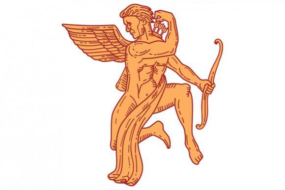 Cupid Bow Drawing Arrow Mono Line example image 1
