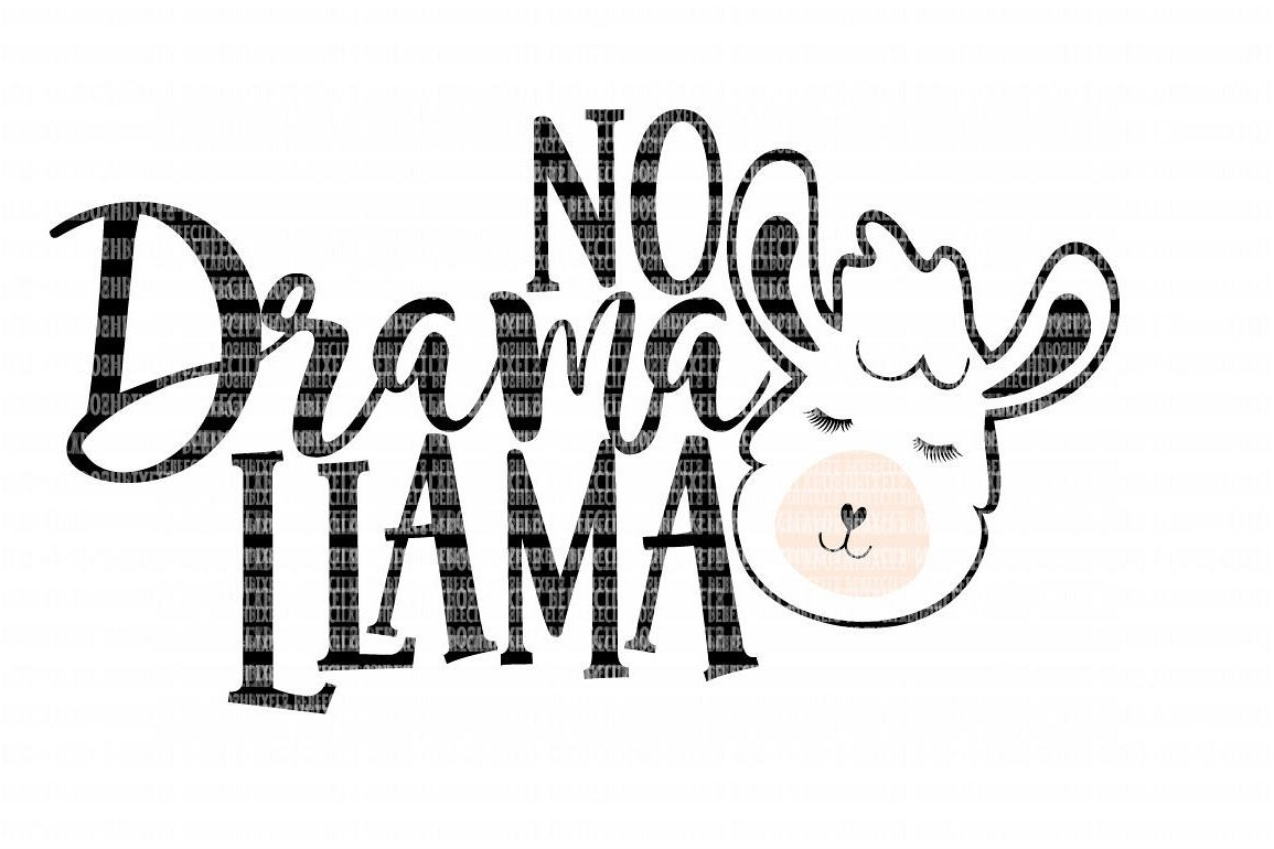 No Drama Llama SVG File, SVG Files for Cameo and Cricut Design Space, Iron on Decal, Printable Transfer, DXF Commercial Use, example image 1