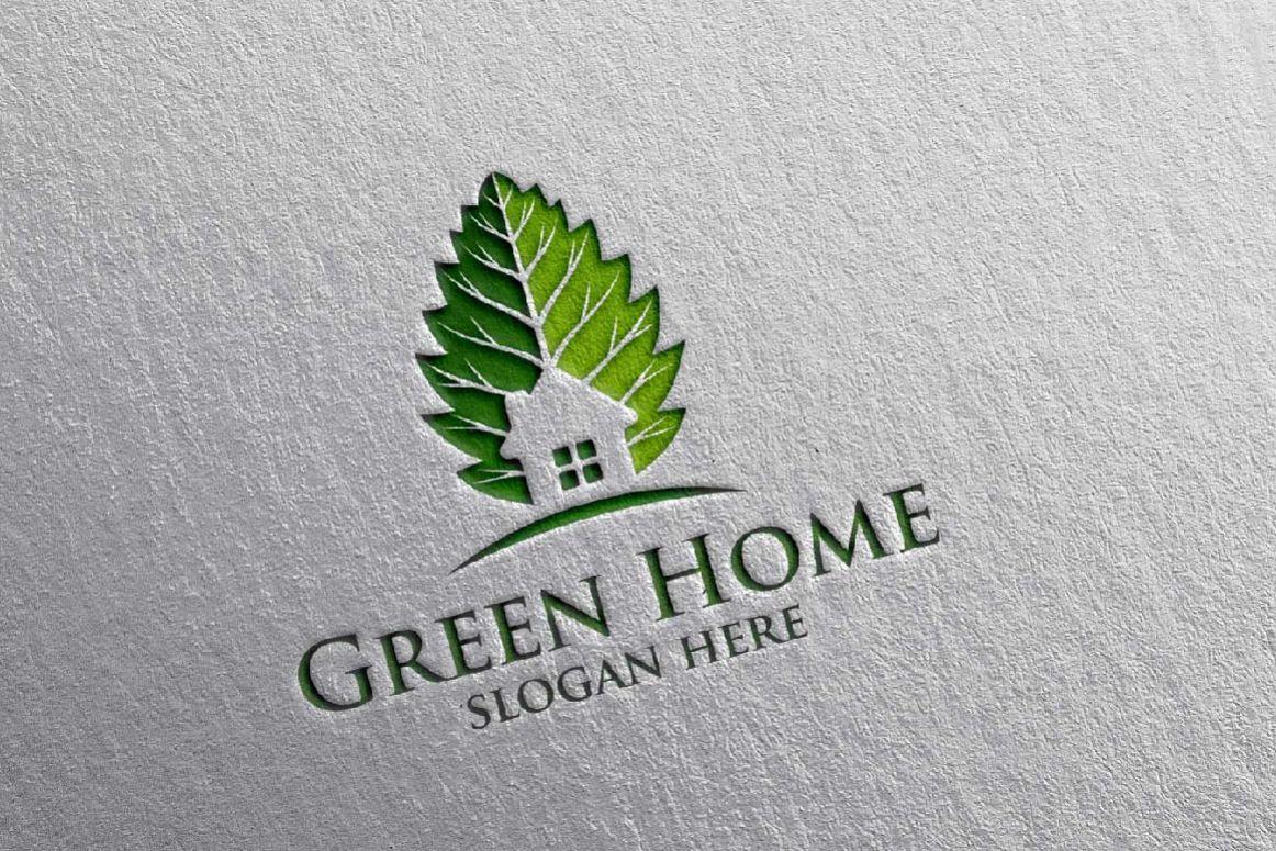 Real estate Logo, Green Home Logo 20 example image 1