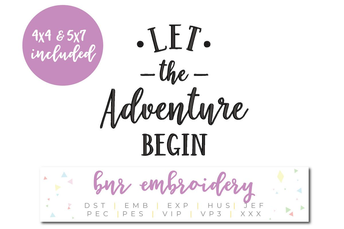 Let The Adventure Begin Machine Embroidery Design example image 1