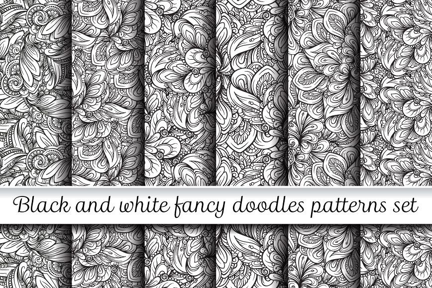 Black and white fancy doodles patterns set example image 1