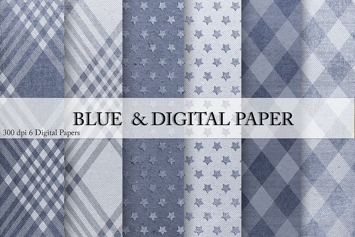 Blue Digital Paper example image 1