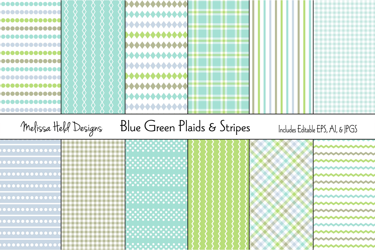 Blue Green Stripes & Plaids example image 1