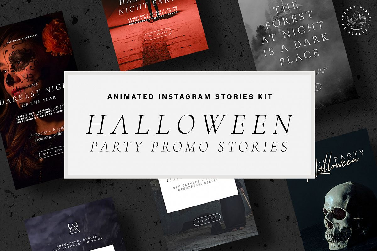 Halloween Animated Instagram Stories Templates - Event Promo example image 1