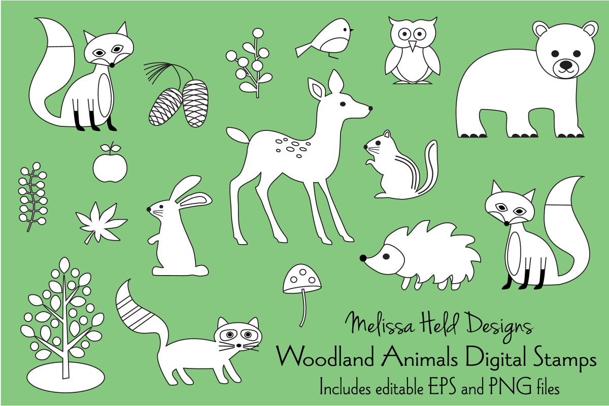 Woodland Animals Digital Stamps Clipart example image 1
