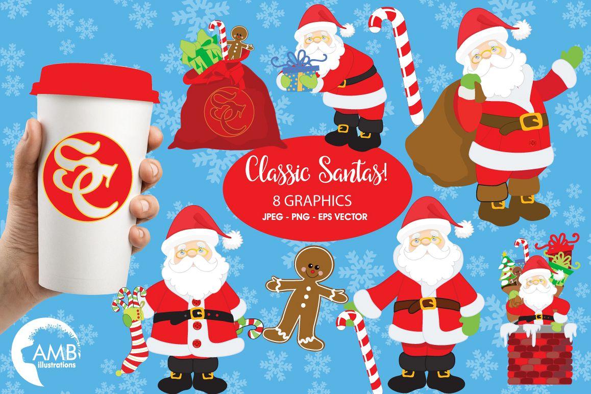 Classic Santas clipart, graphics, illustrations AMB-198 example image 1