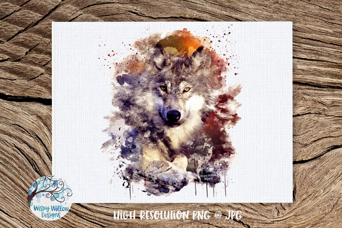 Watercolor Wolf | PNG and JPG | Sublimation example image 1