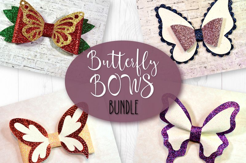 4 Hair bow template SVG, Butterfly faux leather bow template example image 1