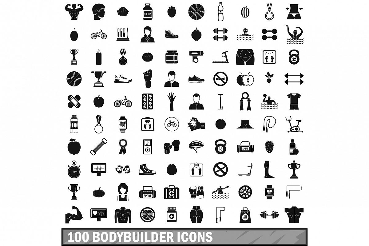 100 bodybuilder icons set, simple style example image 1