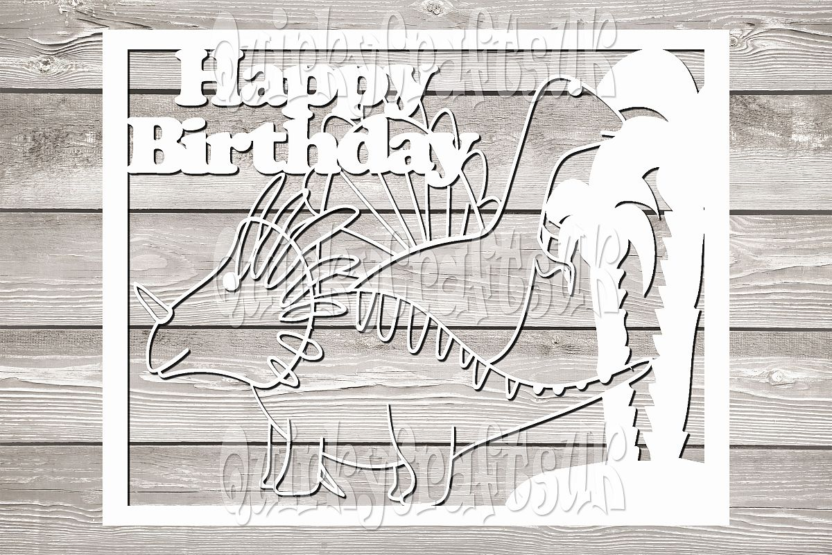 Happy birthday Dinosaurs papercutting templates example image 1