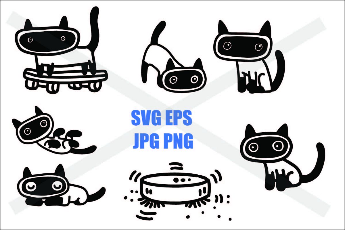 Siamese cat in Action - SVG EPS JPG PNG example image 1