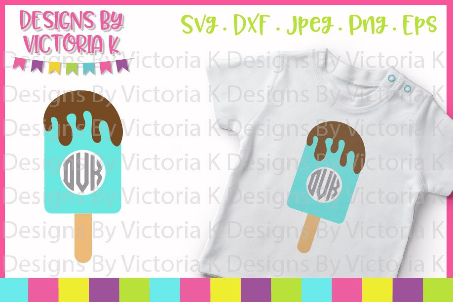 Ice lolly, Beach, Lolly Monogram, SVG, DXF, PNG example image 1