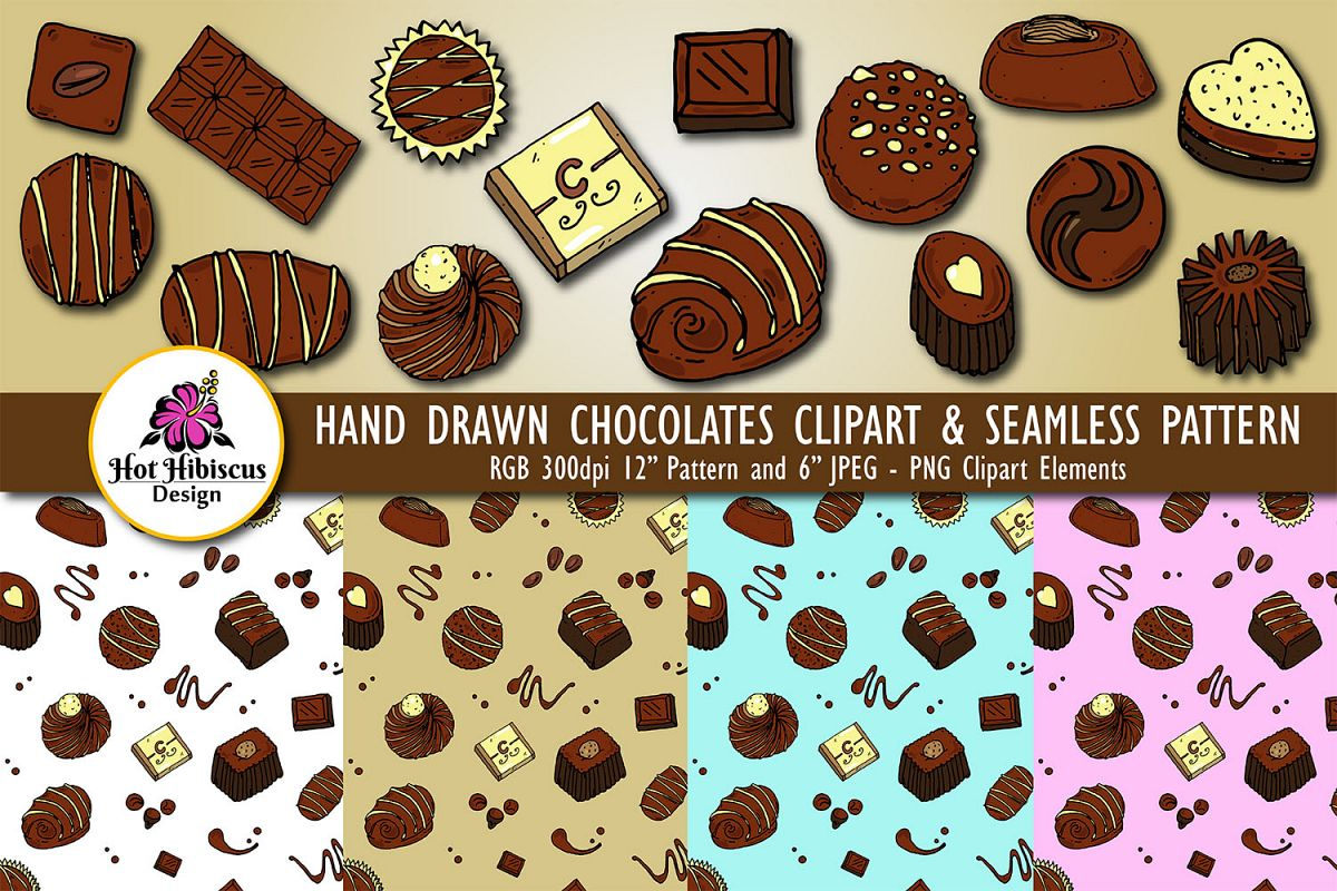 Chocolate Candy Confectionery Pattern and Clipart Bundle example image 1