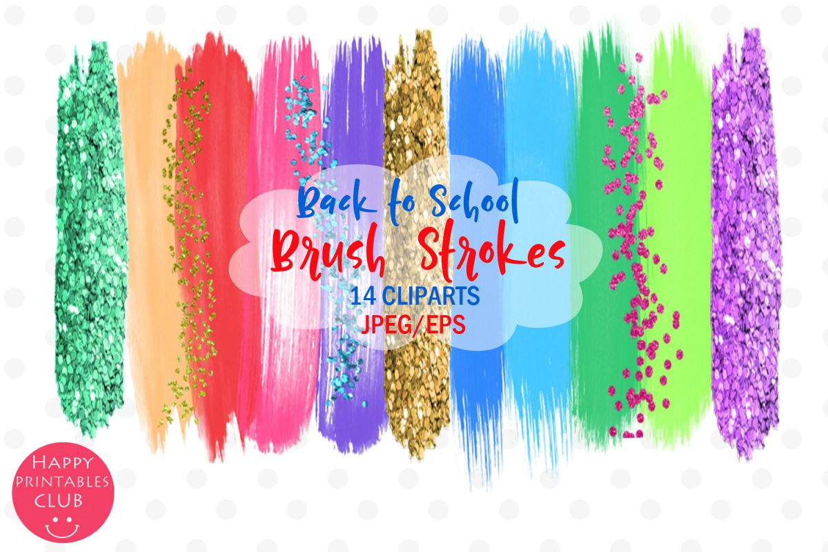 Back to School Brush Strokes Clipart-Back to School Brushes example image 1