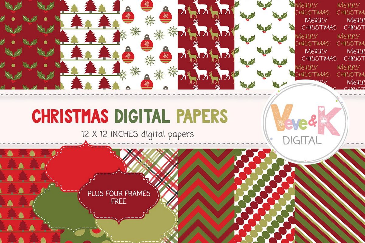 Christmas Digital Papers, Christmas Paper Pack, Scrapbooking Digital ...