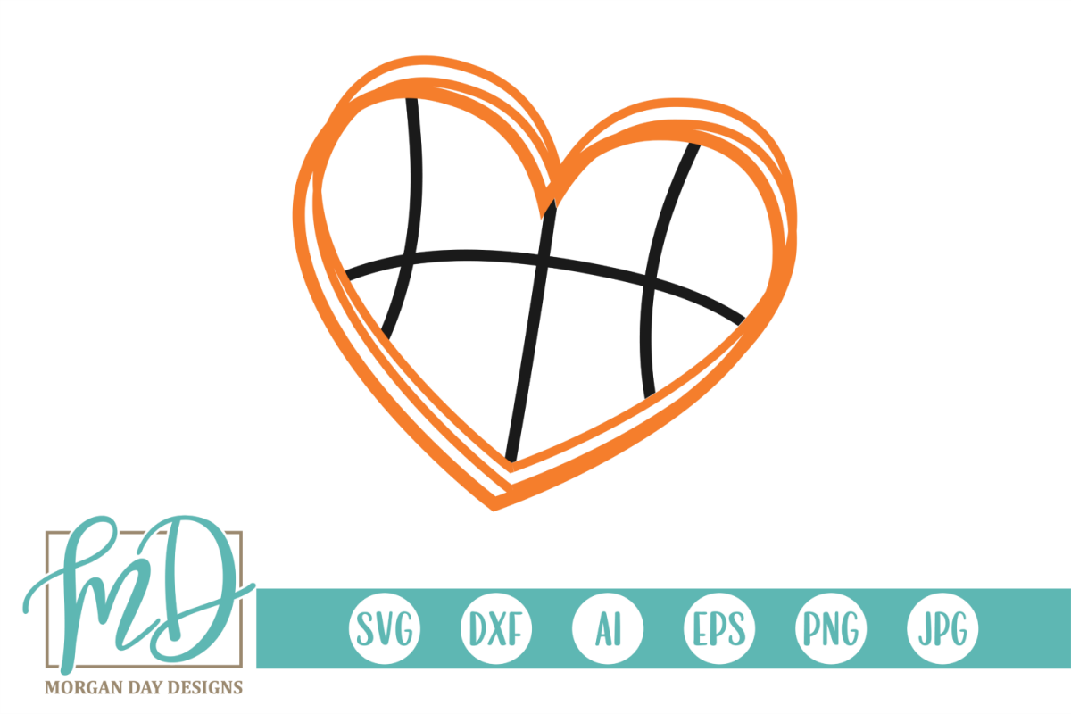 Basketball Heart Outline SVG, DXF, AI, EPS, PNG, JPEG example image 1