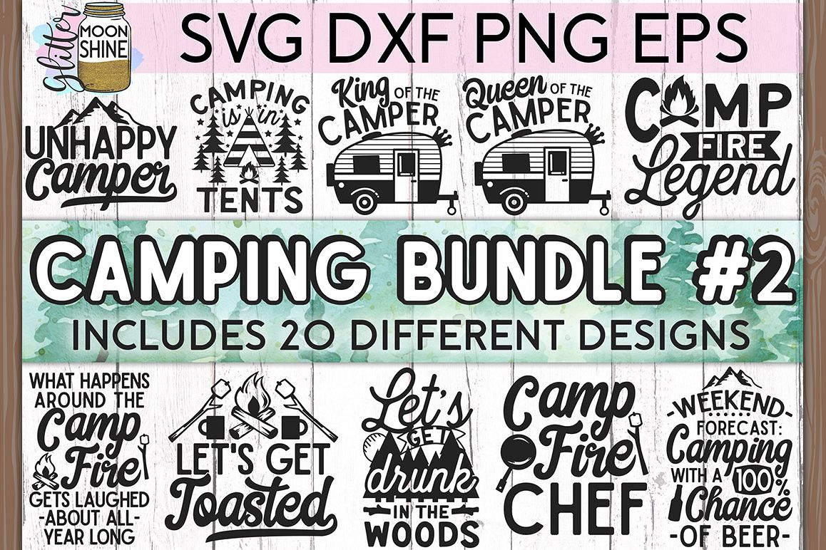 Camping Bundle of 20 #2 SVG DXF PNG EPS Cutting Files example image 1
