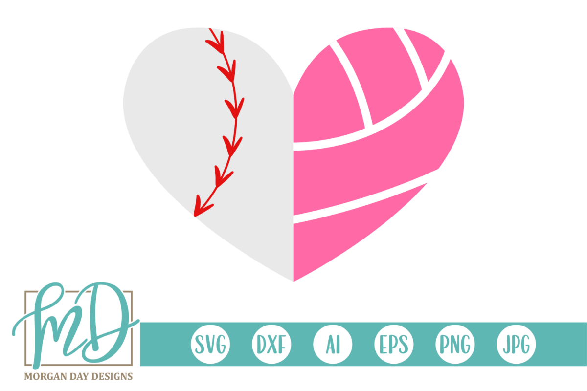 Baseball Volleyball Heart SVG, DXF, AI, EPS, PNG, JPEG example image 1