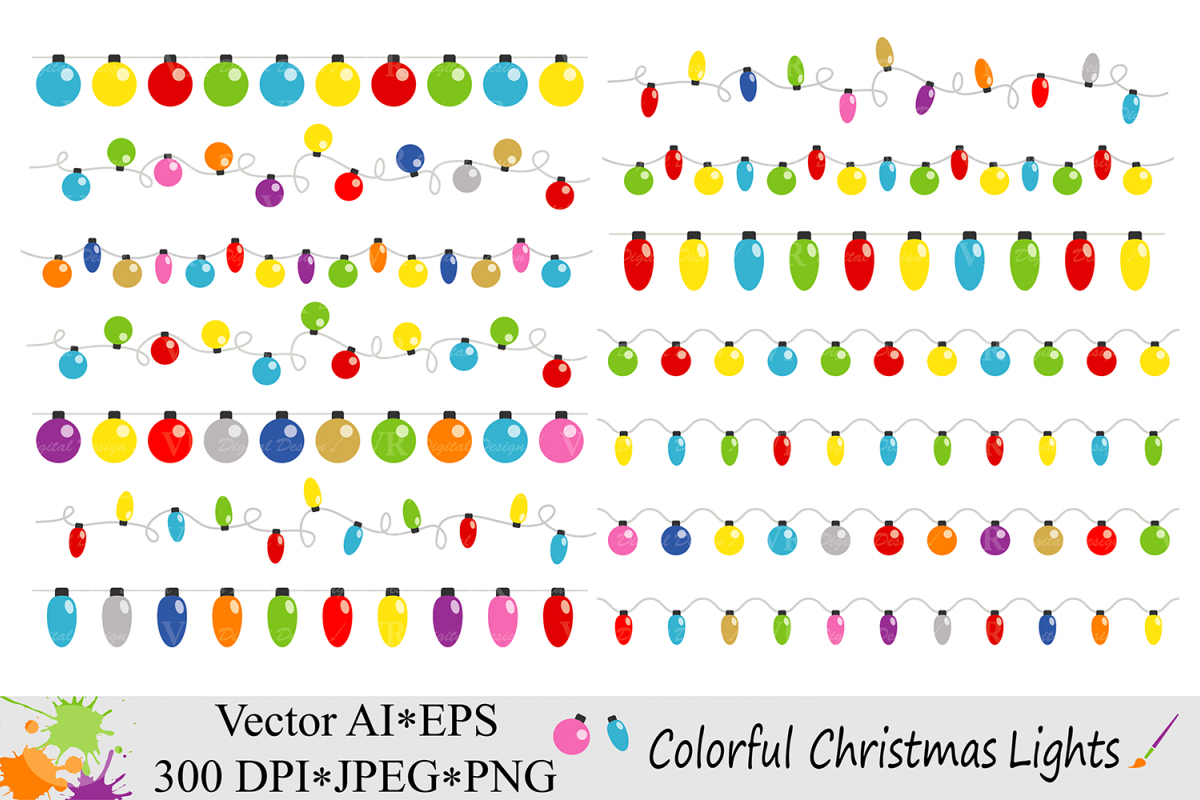 Colorful Christmas String Lights Clipart