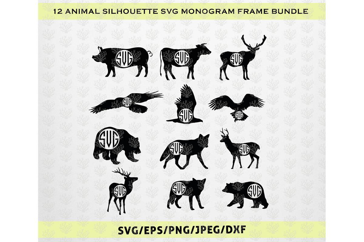 12 Animal Silhouette Svg Monogram Frame | Design Bundles
