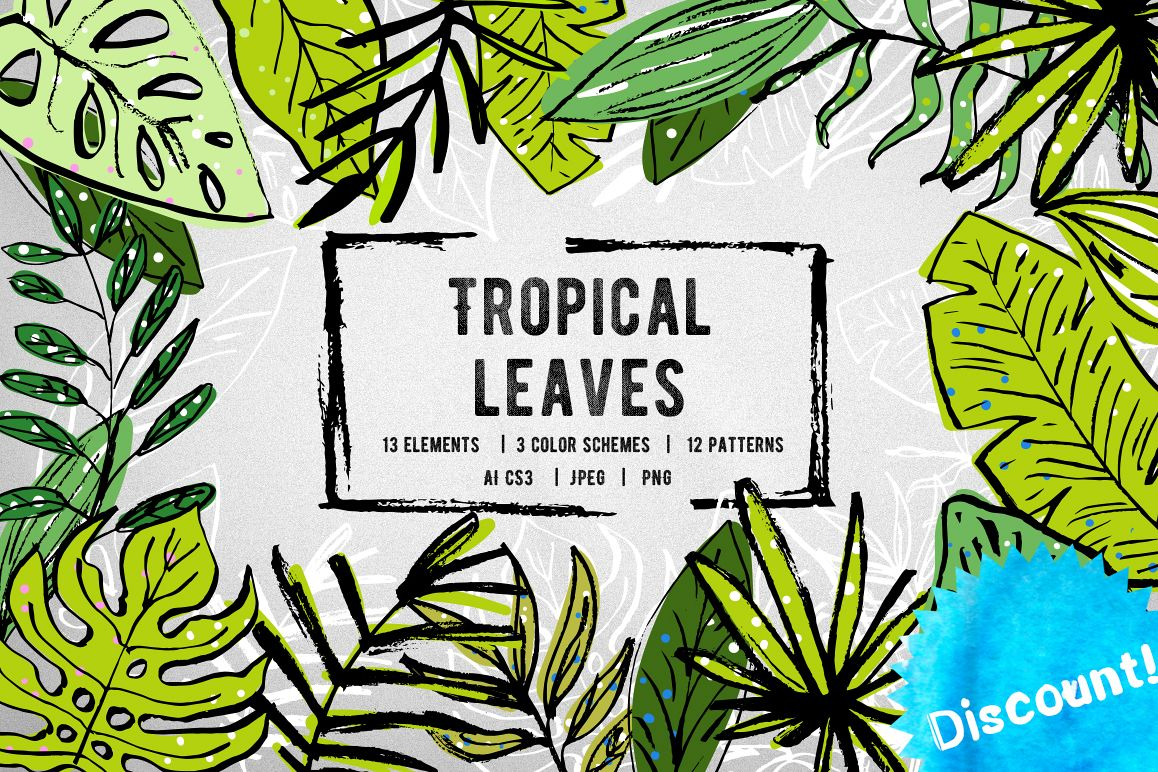 Tropical leaves set example image 1