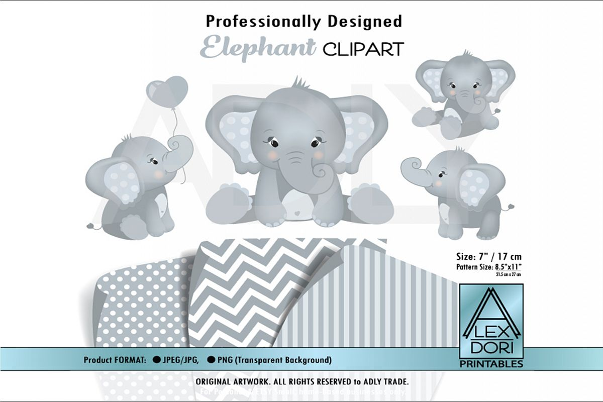 Gray Baby Cute Elephant with Adorable Poses in Clip Art example image 1