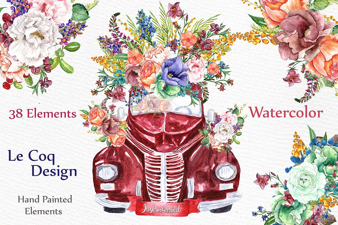 Watercolor floral clip art example image 1