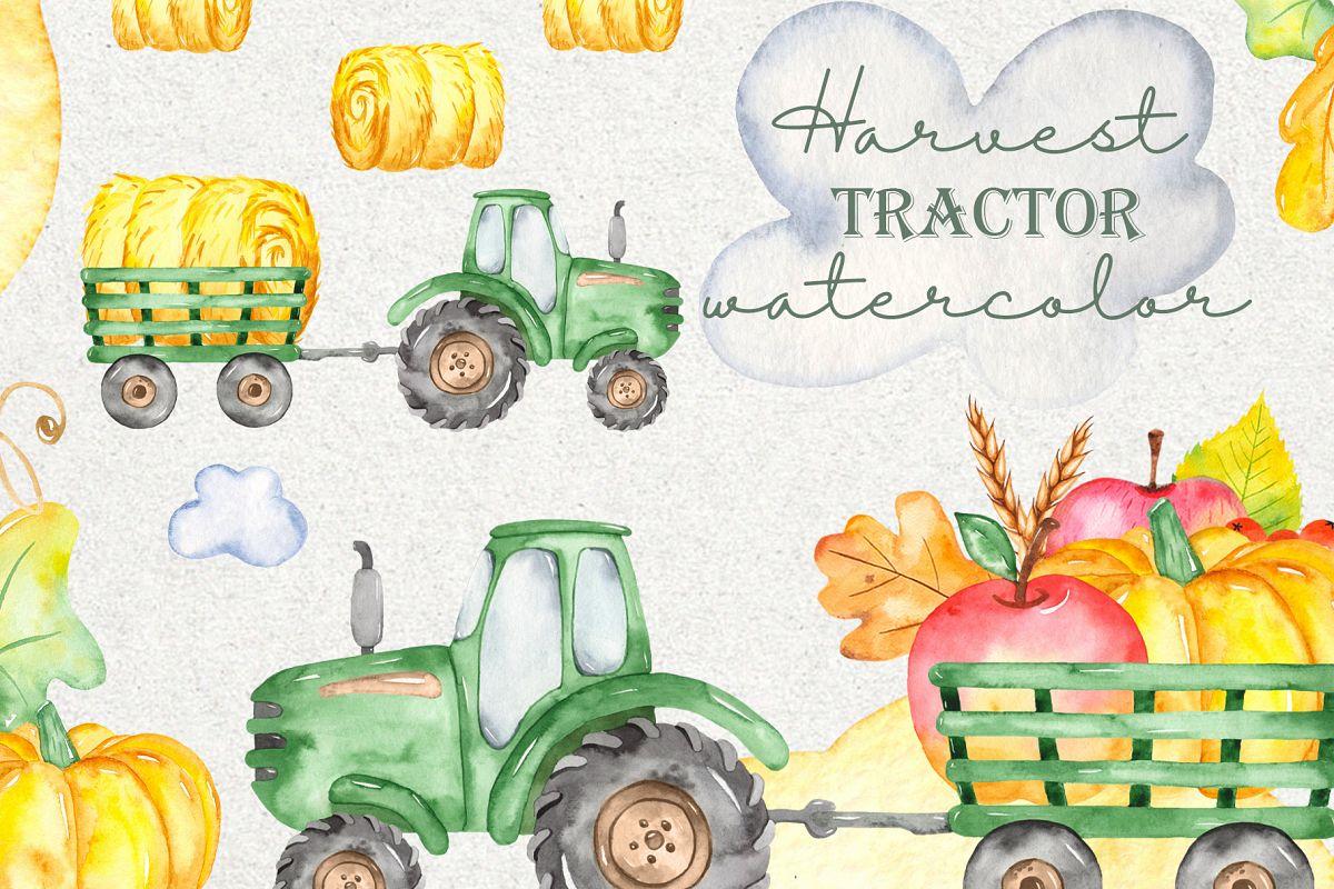 Tractor, harvesting, hay, pumpkin, farm. Watercolor clipart example image 1