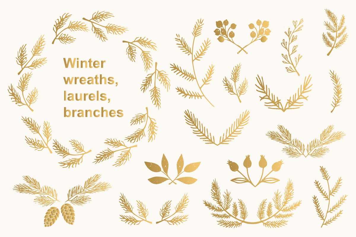 Winter wreaths, laurels, branches example image 1