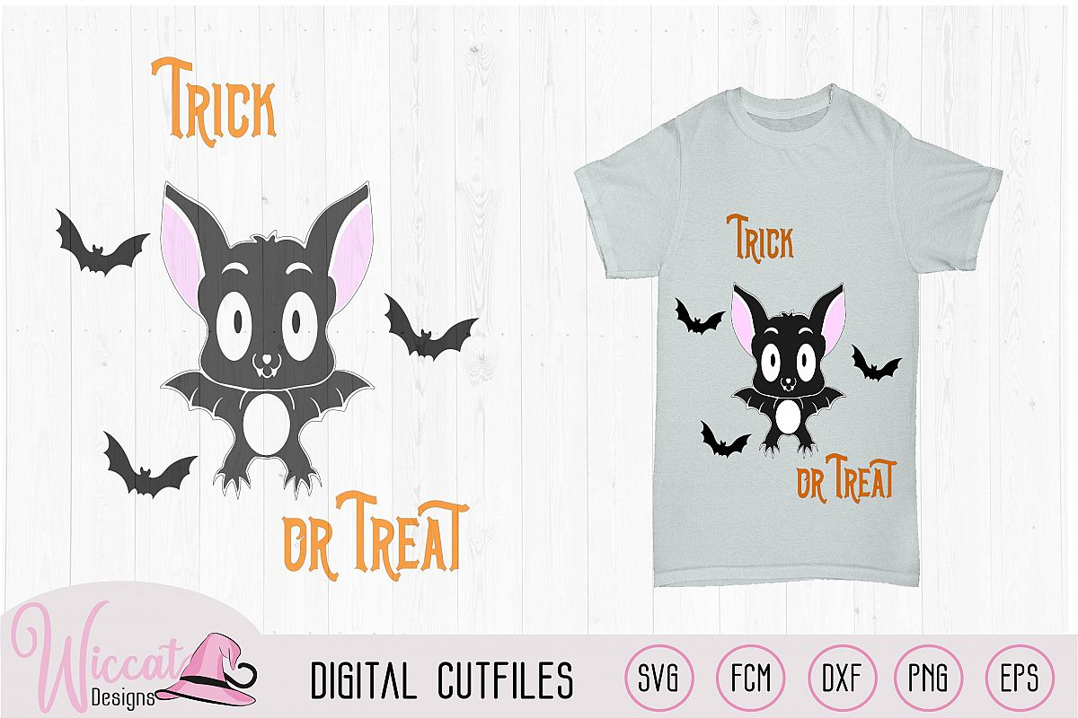 Cute little bat, trick or treat cut file example image 1