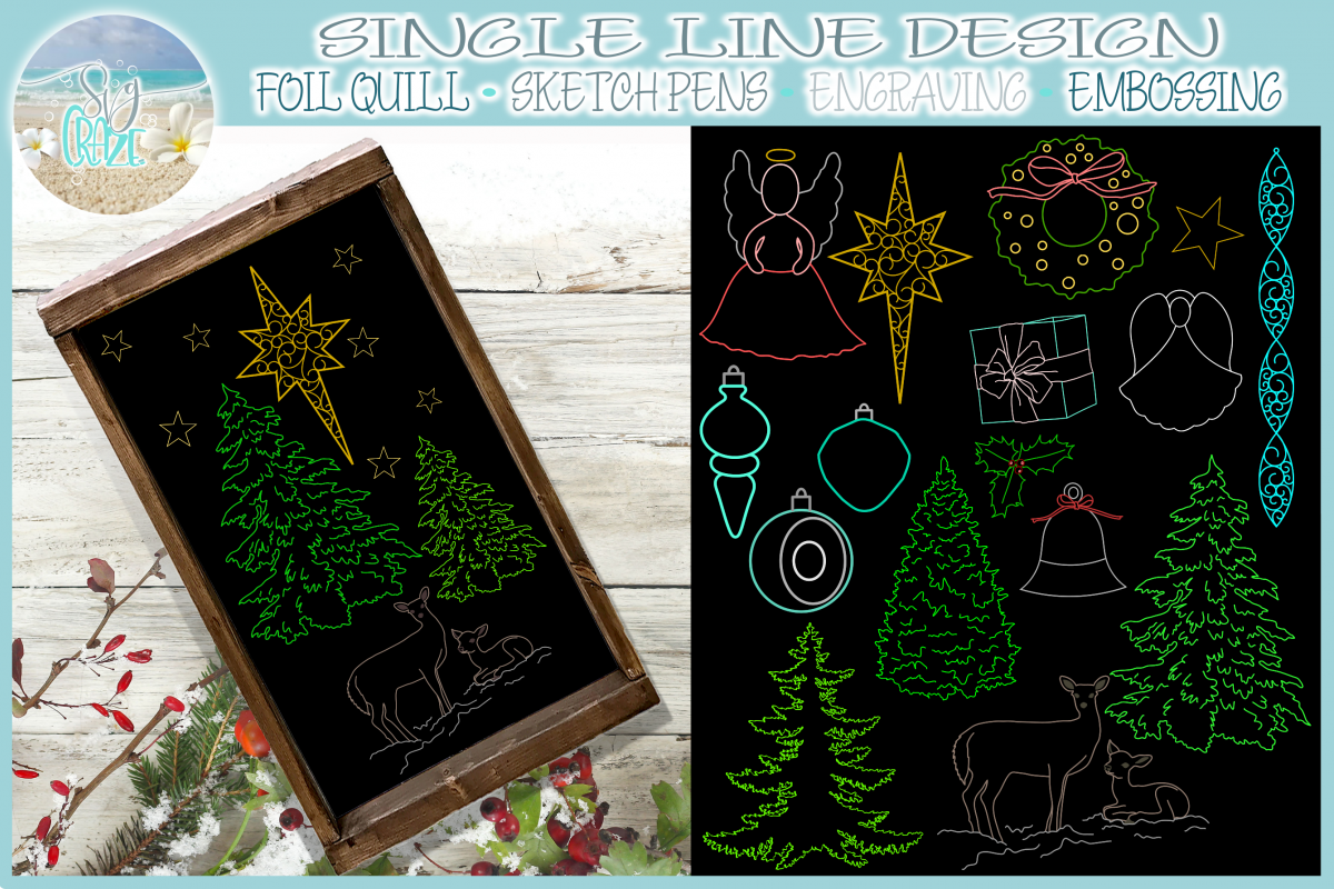 Foil Quill Single Line Christmas Elements SVG example image 1