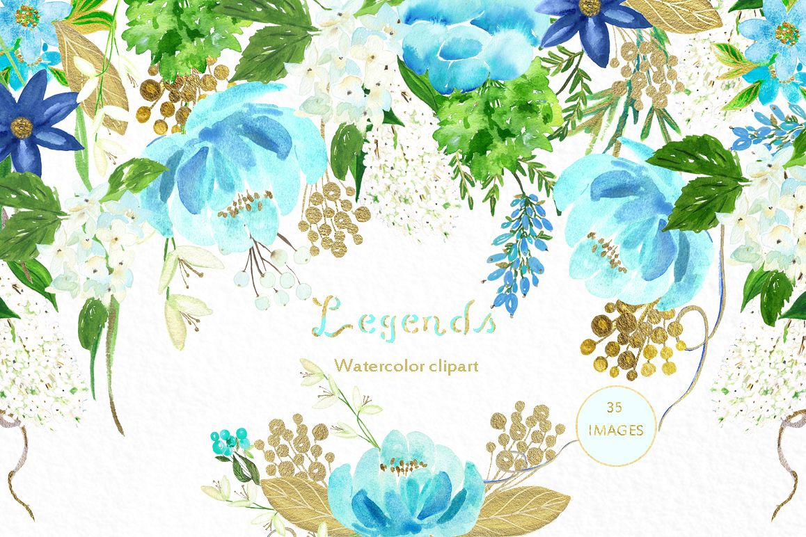 Gold And Blue Watercolor Flowers