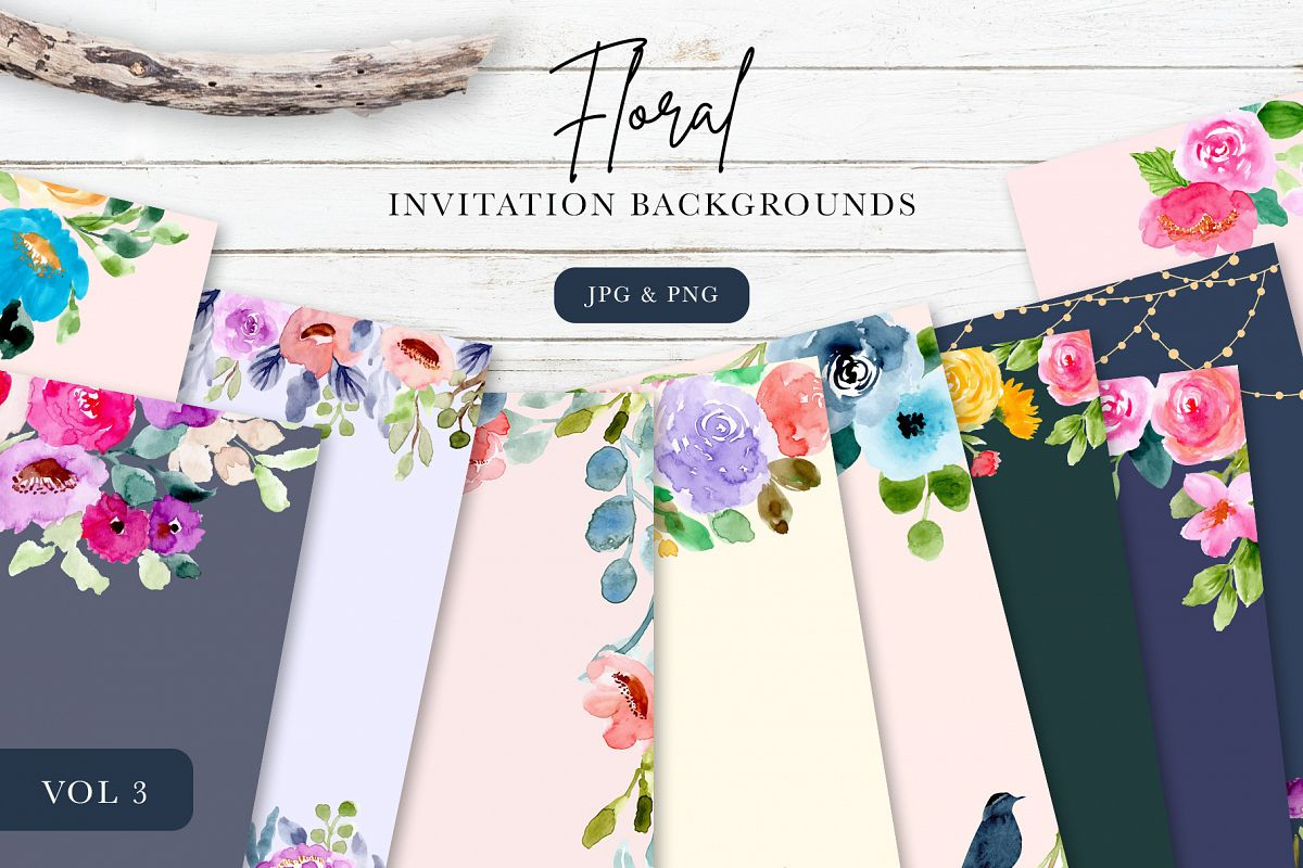 Floral Invitation Backgrounds Vol.3 example image 1