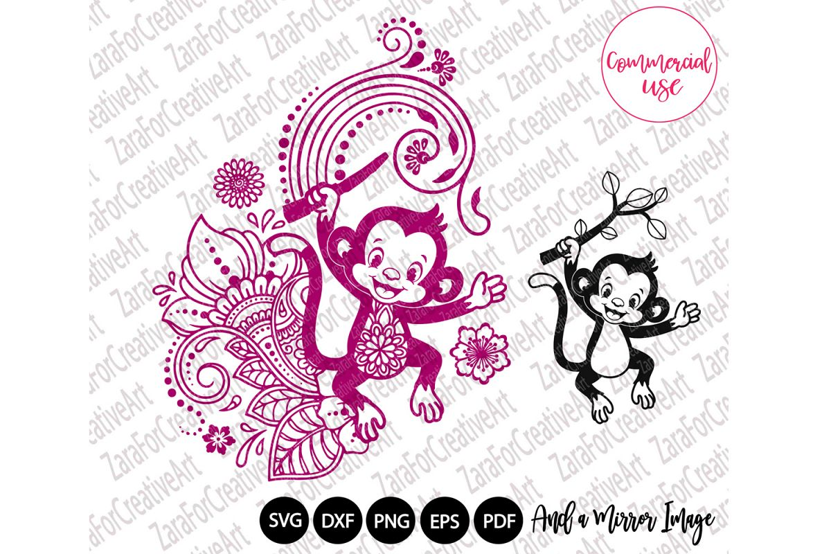 Cute Monkey mandala Zentangle svg example image 1