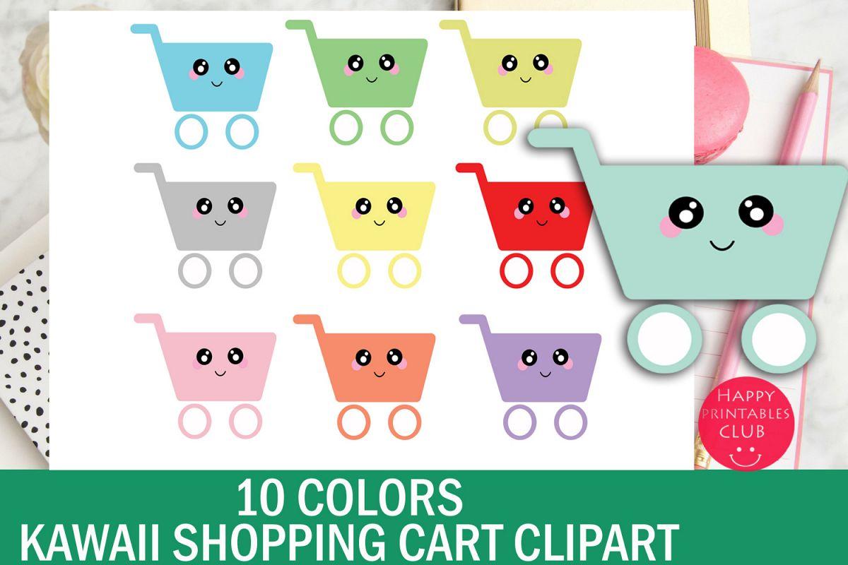 10 Colors Cute Kawaii Shopping Cart Clipart example image 1