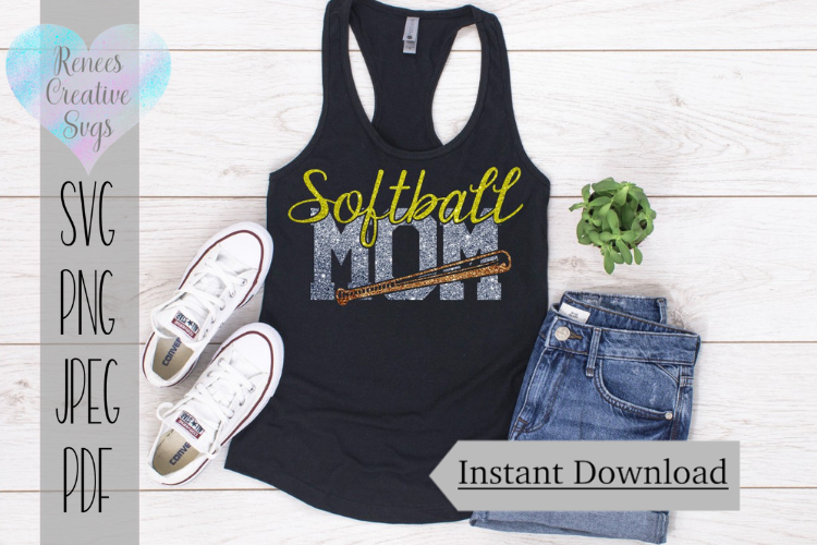 Softball Mom | Sports | SVG Cutting File example image 1