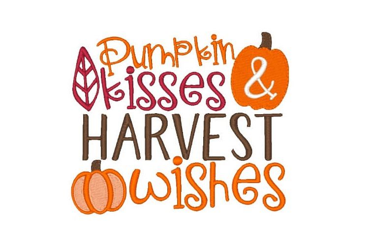 Pumpkin Kisses Embroidery Design Saying example image 1