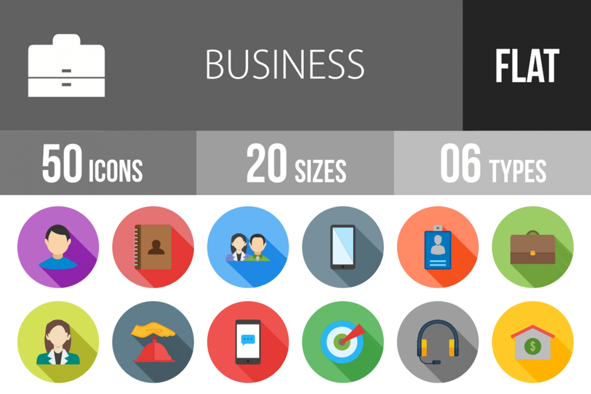 50 Business Flat Long Shadow Icons example image 1