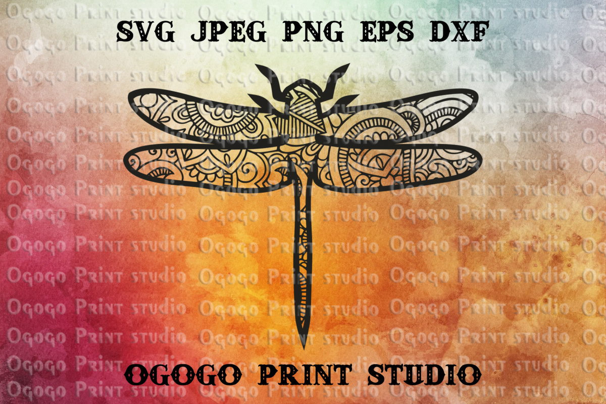 Mandala style Dragonfly SVG, Zentangle Svg, Insect svg example image 1