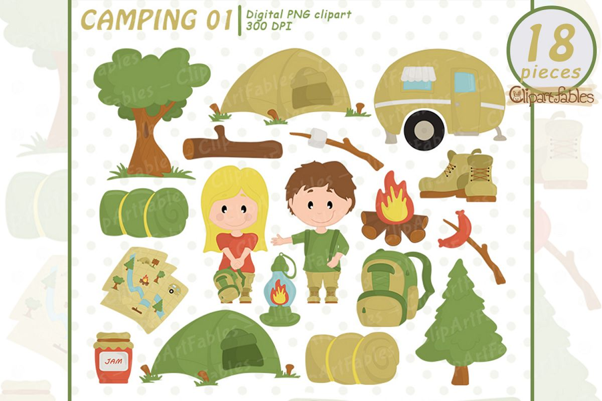 CAMPING clipart, Camp fire art, Outdoor - INSTANT download example image 1