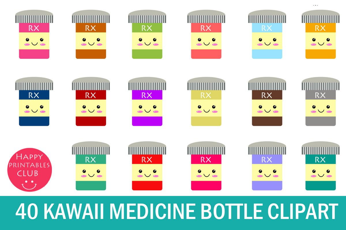 40 Kawaii Medicine Bottle Clipart- Medicine Bottle Clipart