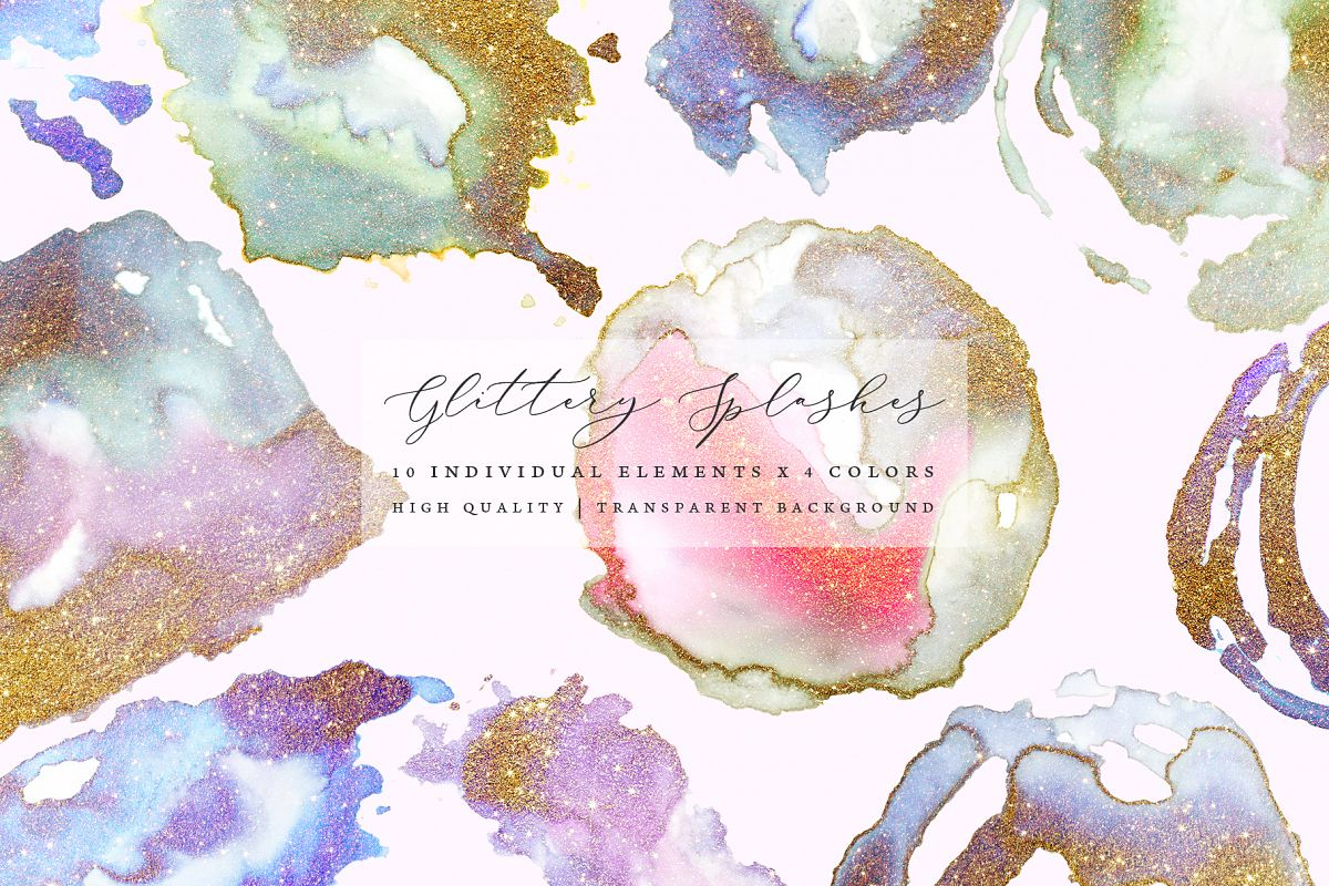 Gold glitter watercolor shapes, gold watercolor frames example image 1