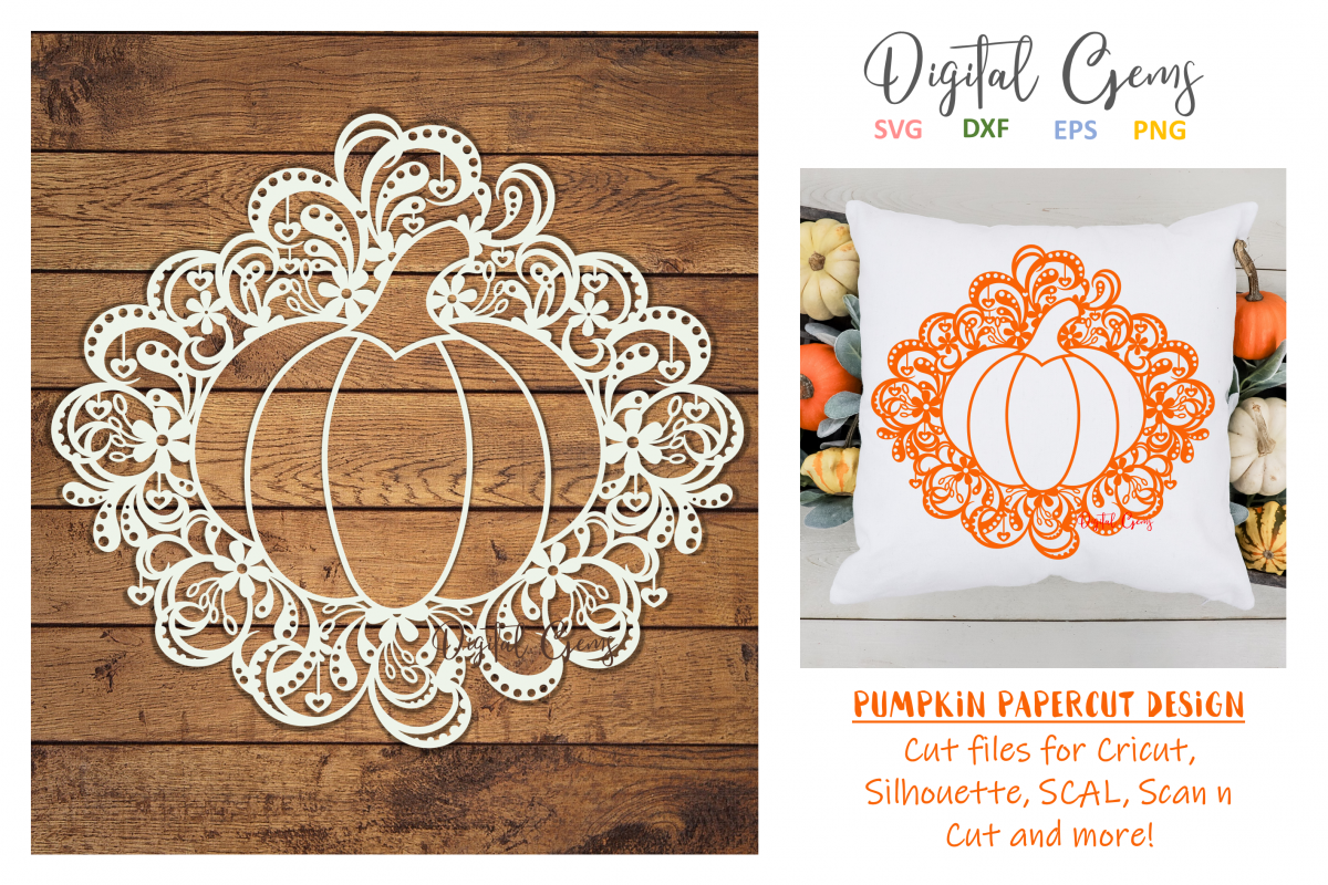 Pumpkin Paper Cut SVG / DXF / EPS Files example image 1