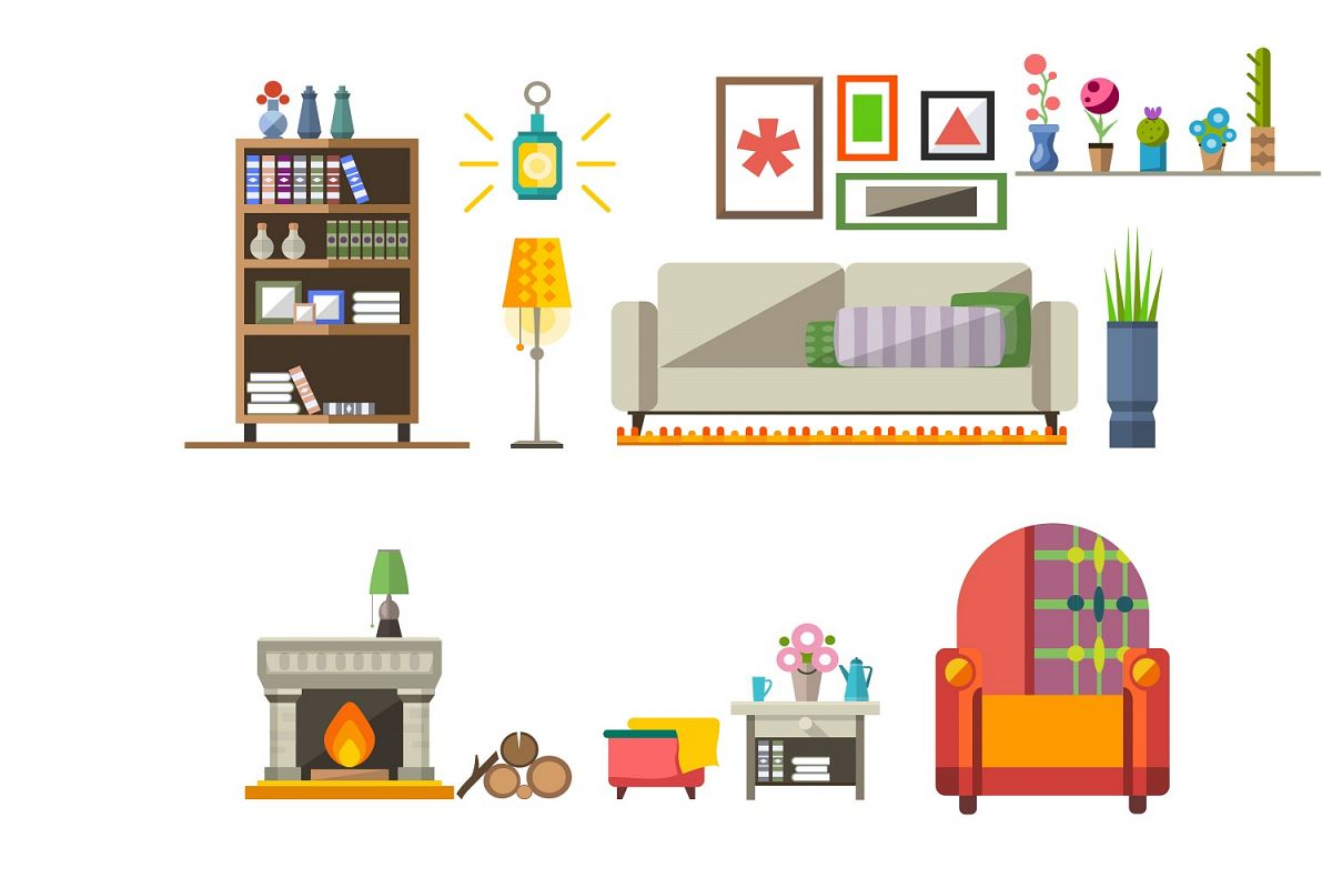 House Interior kit illustration Vector Pack example image 1