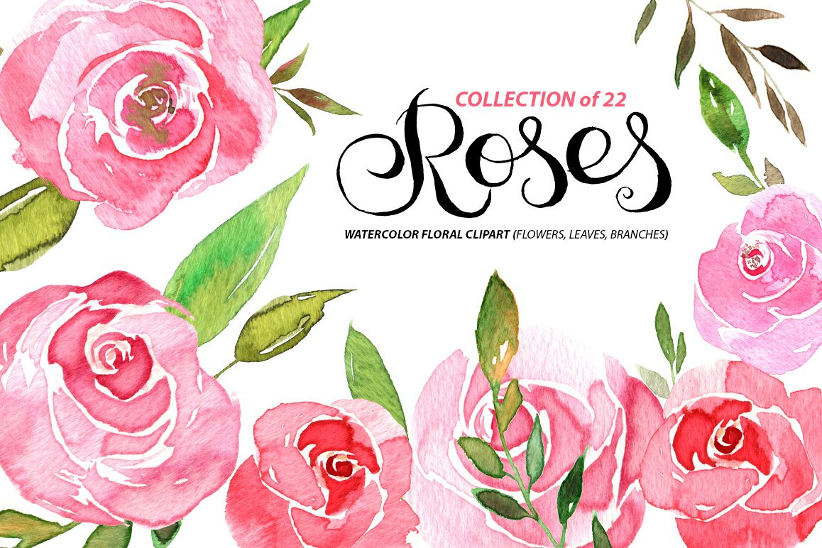 Watercolor pink roses and leaves example image 1