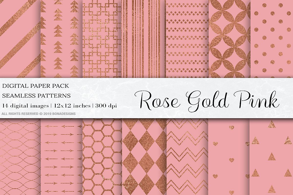 Rose Gold Pink Seamless Pattern example image 1