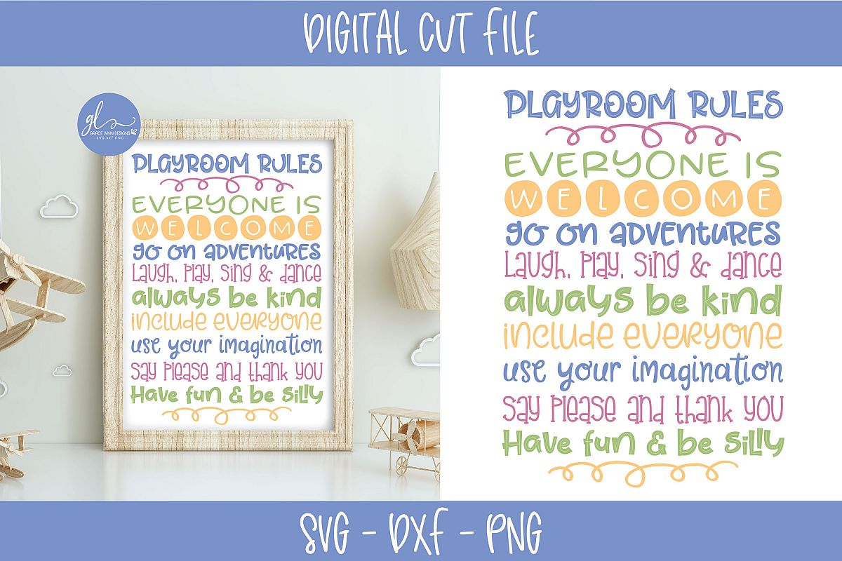 Playroom Rules - SVG Cut File example image 1