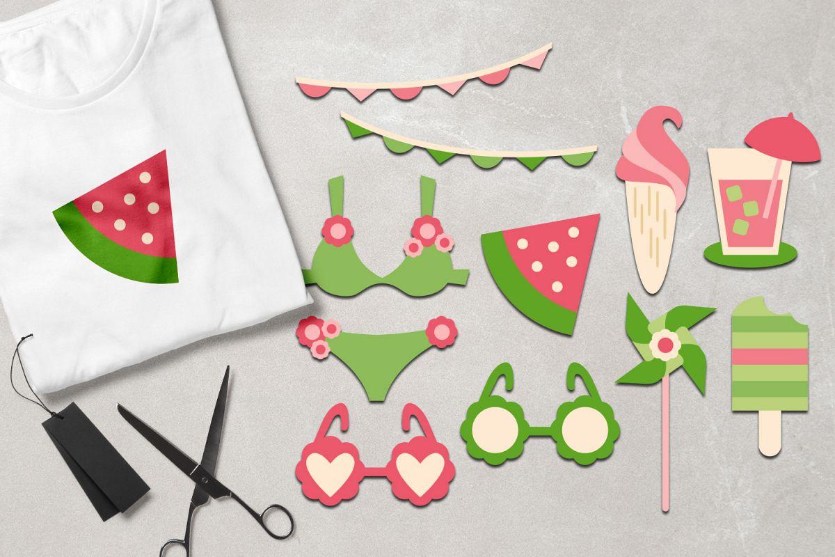 Summer picnic - bikini, ice cream, sunglasses - Pink Lime example image 1