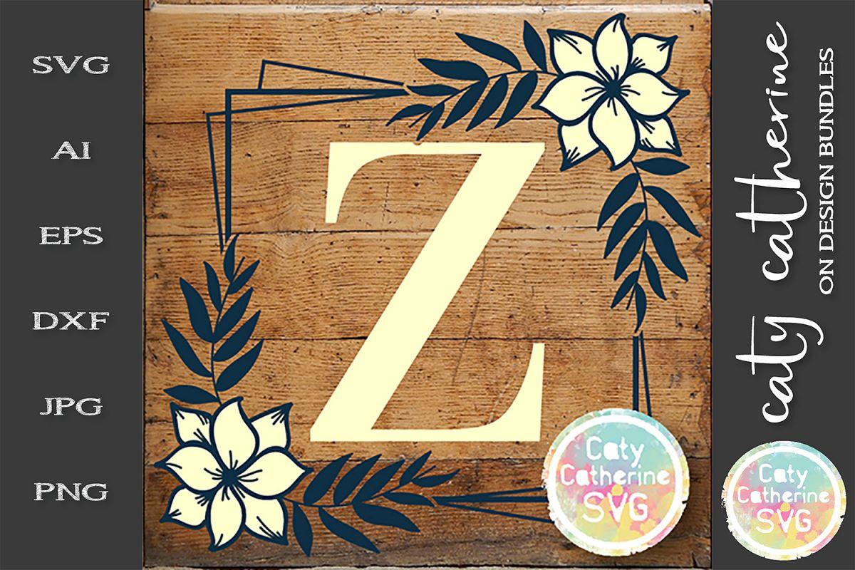 Letter Z Floral Monogram Frame SVG Cut File example image 1